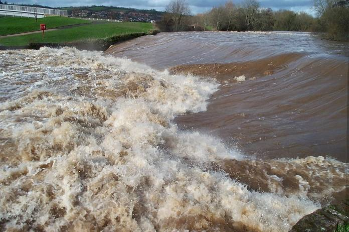 The River Exe in Flood, Exeter, Devon